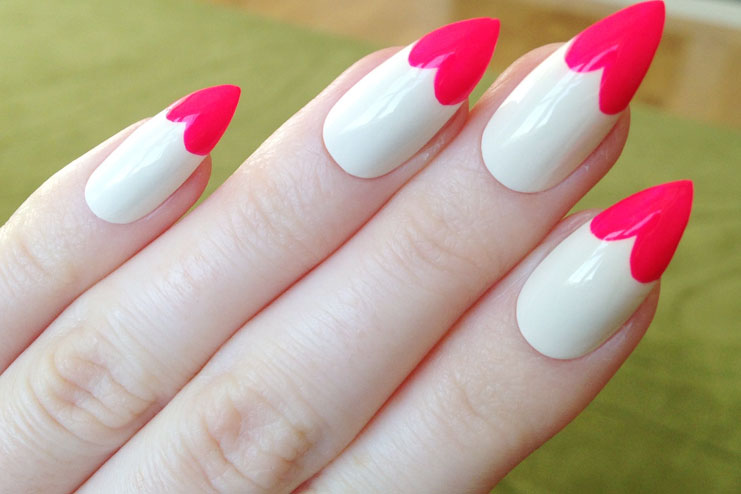 Almond shaped nail designs for feminine galore hergamut 3heart shaped french nail tips prinsesfo Image collections