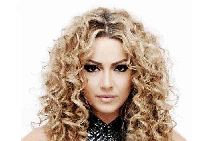 Spiral perm with blonde look