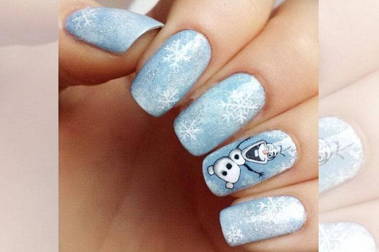 Snowman inspired Olaf Christmas nail art