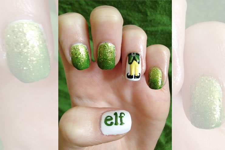 Elf inspired Christmas nail art