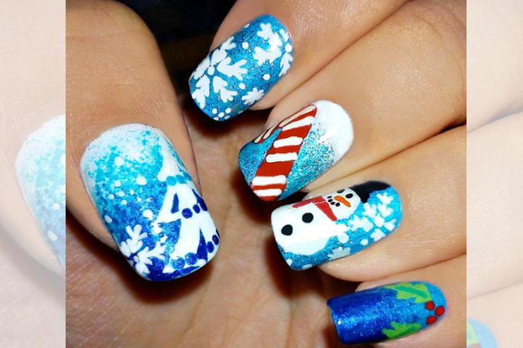 Snowman, a candy cane