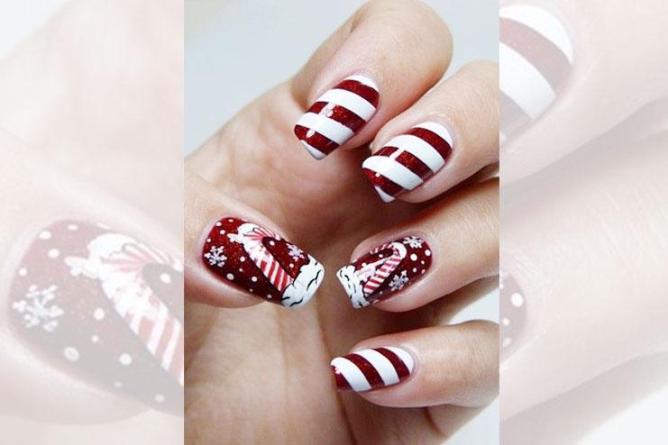 Red themed Christmas nail art