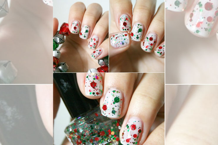 Red and green Christmas nail art design