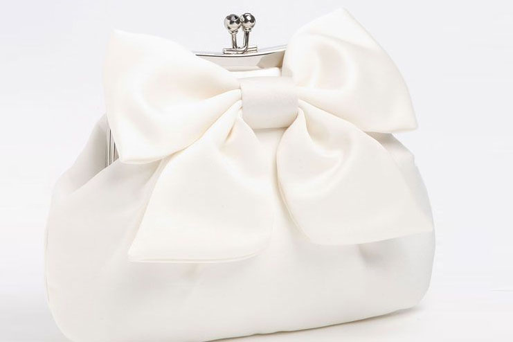 Cream white clutch with satin and net
