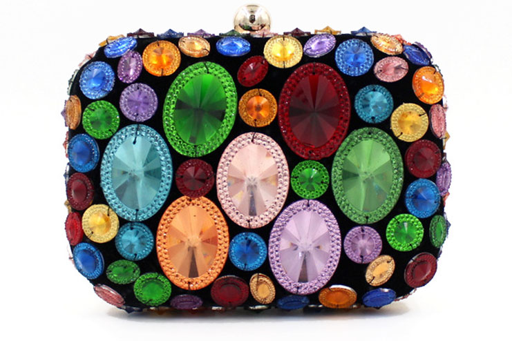 Wedding day clutch for a colorful bride