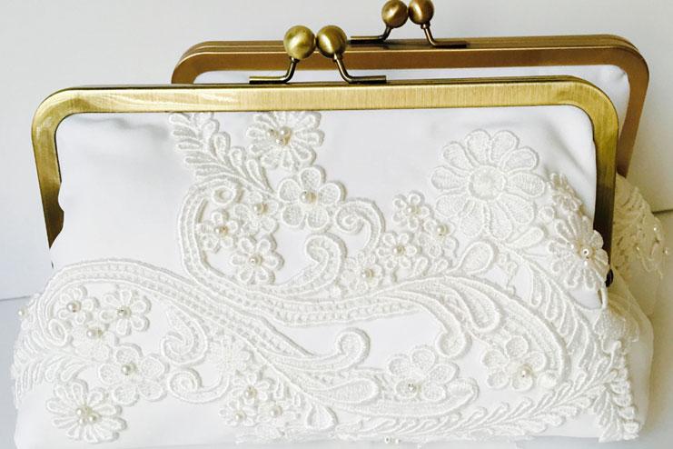 Bridal clutch ivory made
