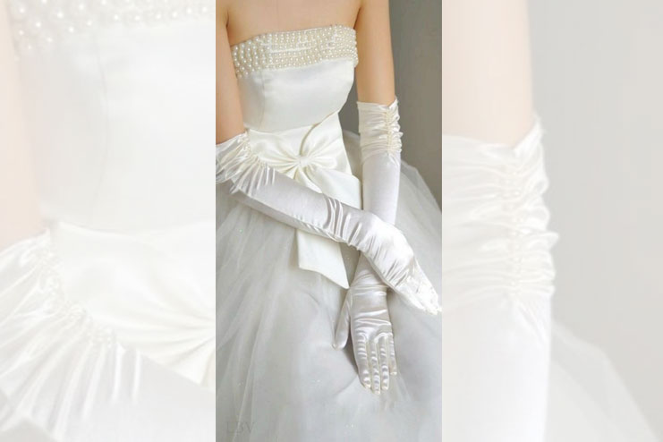 Wedding gowns with elaborate beads-bridal gloves