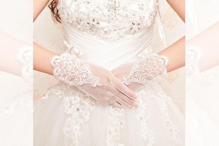 Tulle wedding gloves-bridal gloves