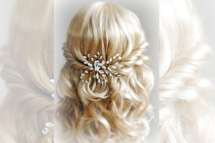Crystal and pearl hair pins