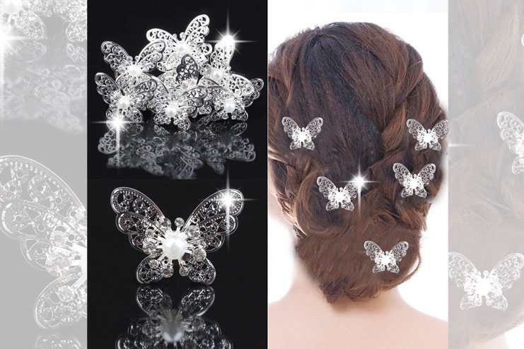 Butterfly wedding hair pins