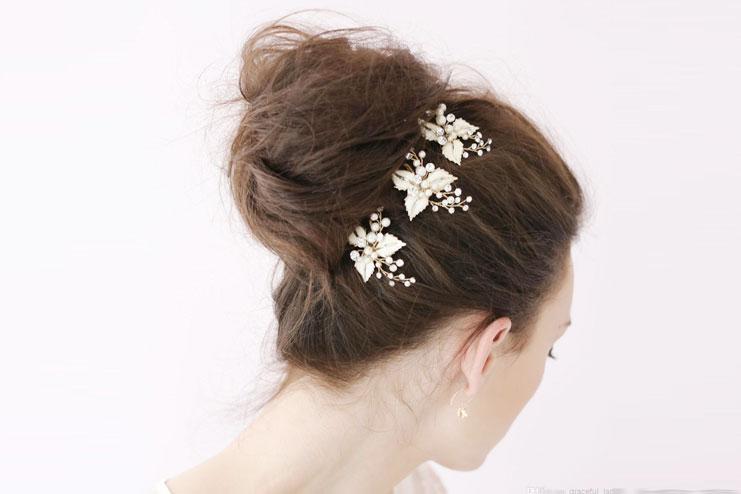 Petite enamel leaf bridal hair pins