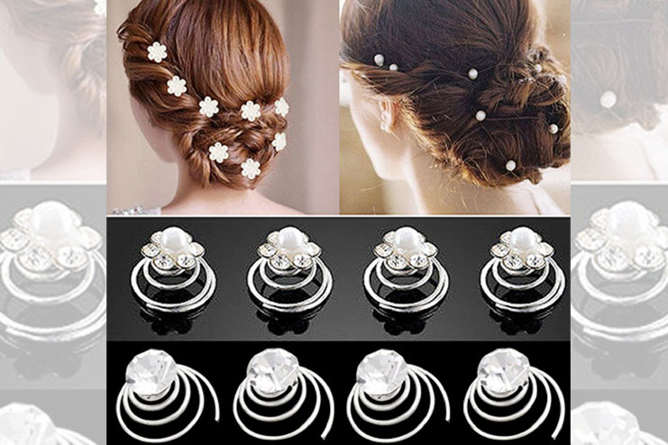 Rhinestone twists coil flower hair pins for brides