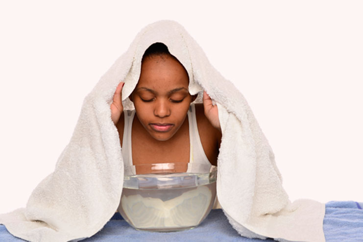Facial steaming warms up the skin surface