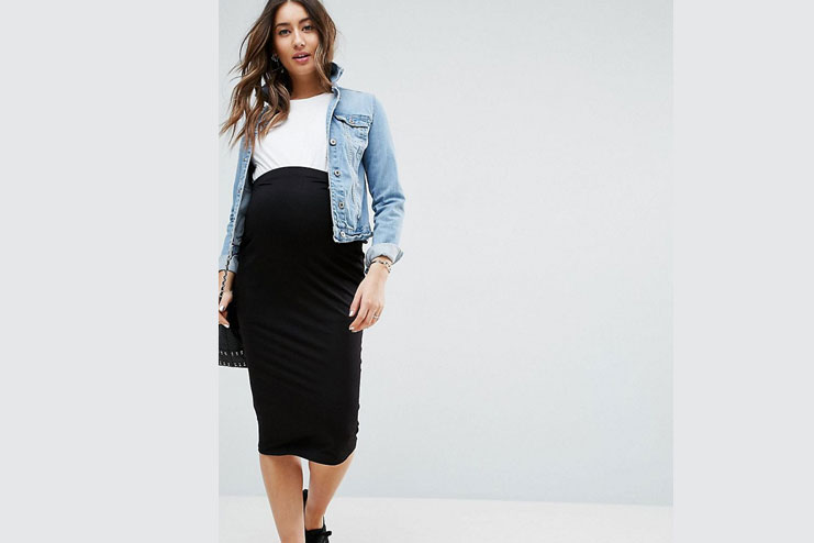 A black pencil skirtwith a bright top tucked over