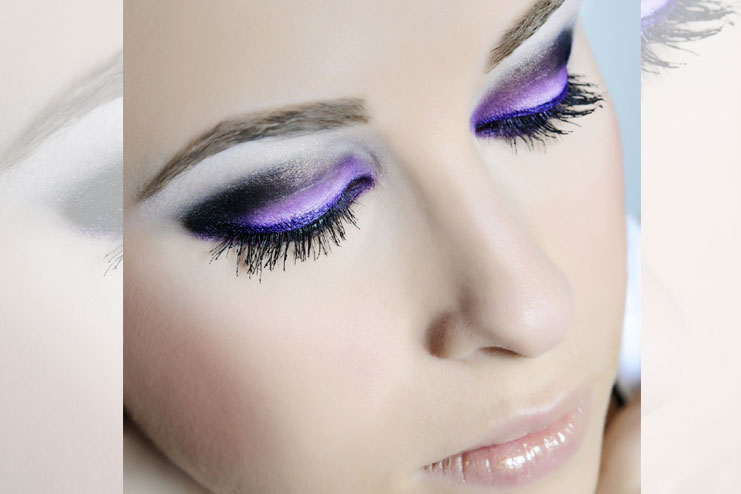 Purple liner and sheer pink lips