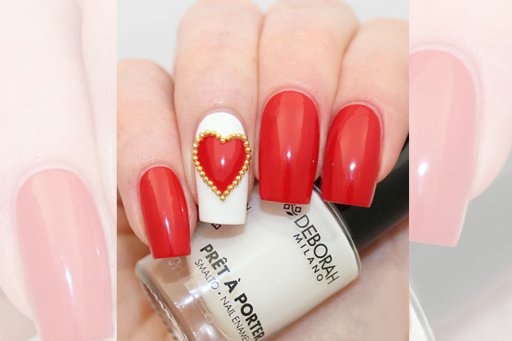 Studded heart nail art