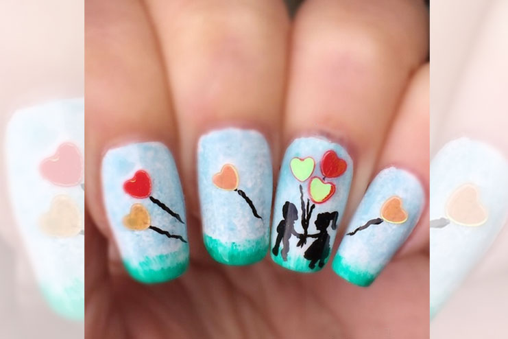 Romantic scene nail art for valentines