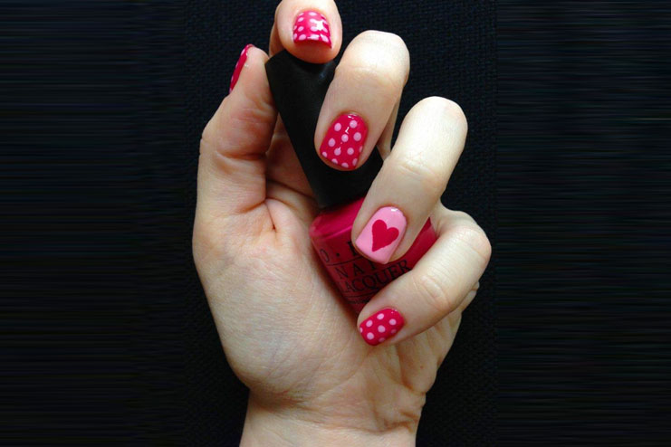 Polka dot valentines day nail art