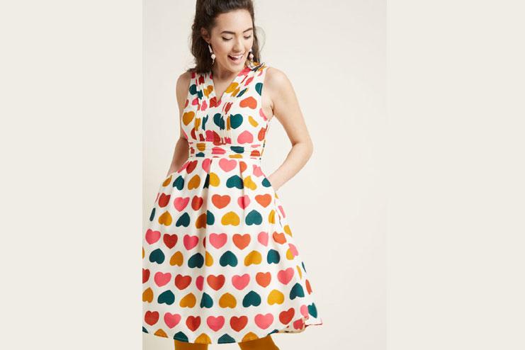 A line heart imprint dress