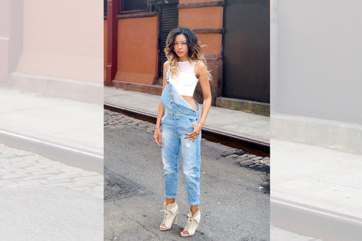 crop top fashion with overalls-Crop Top