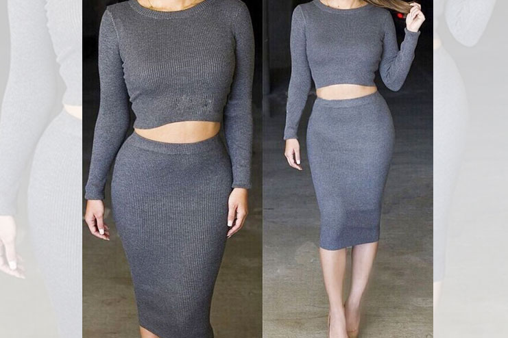 Long sleeved crop tops and skirt