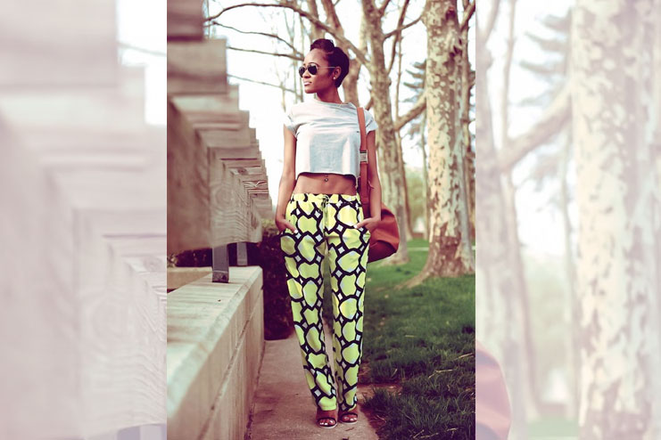 Crop top paired with trousers-Crop Top