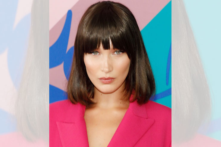 Bella Hadid with bangs and Lob