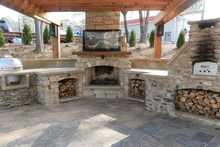 An outdoor fireplace