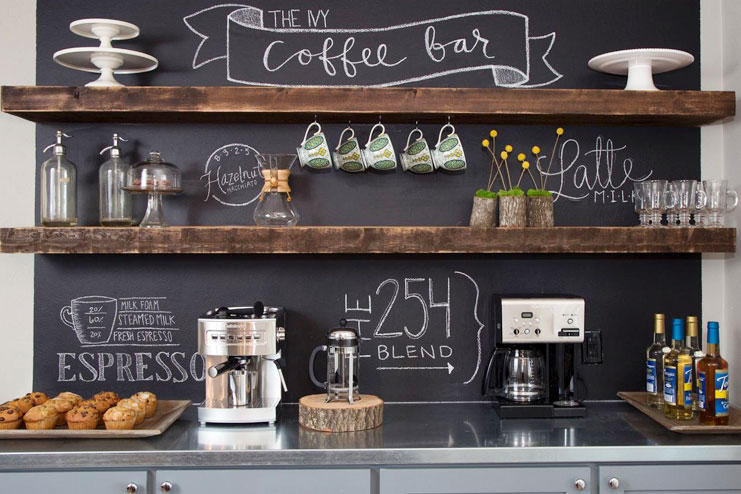 Chalkboard wall outdoor kitchen