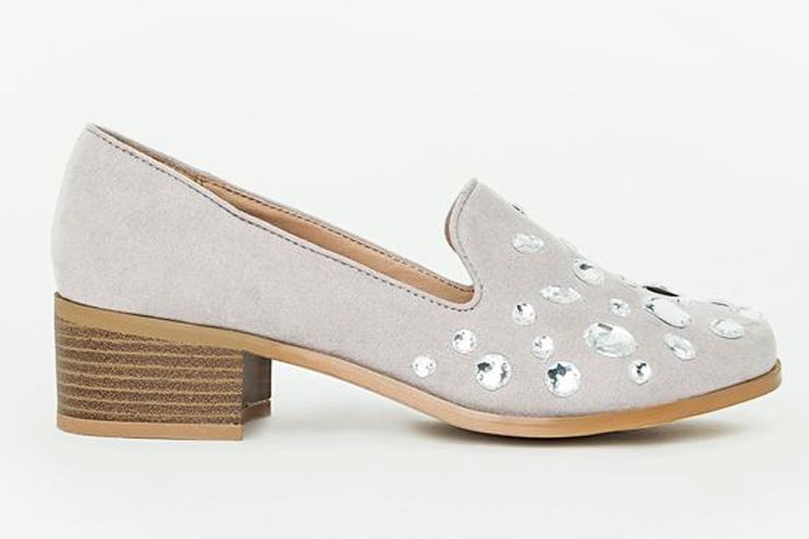 Heeled Loafers Grey - Alexa Embellished