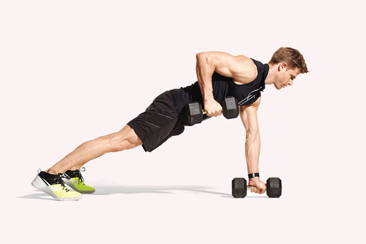 Dumbbell renegade row- 10 reps