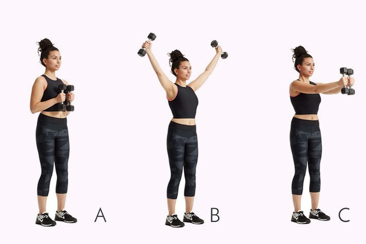 Dumbbell y raise- 10 reps