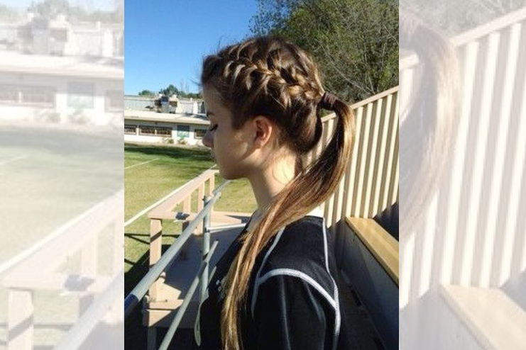 Messy ponytail with one braid, or two