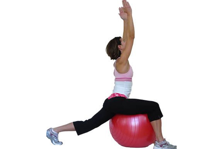 Warrior Posture on a stability ball