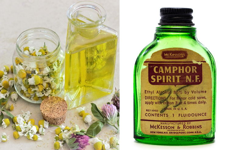 Chamomile oil and camphor oil